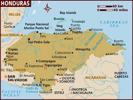 Honduras Vacation Map