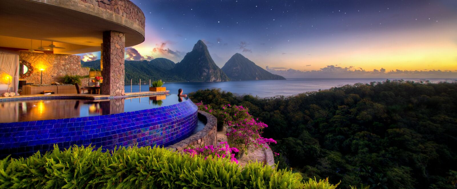 Luxury accommodations with view of the Caribbean Sea