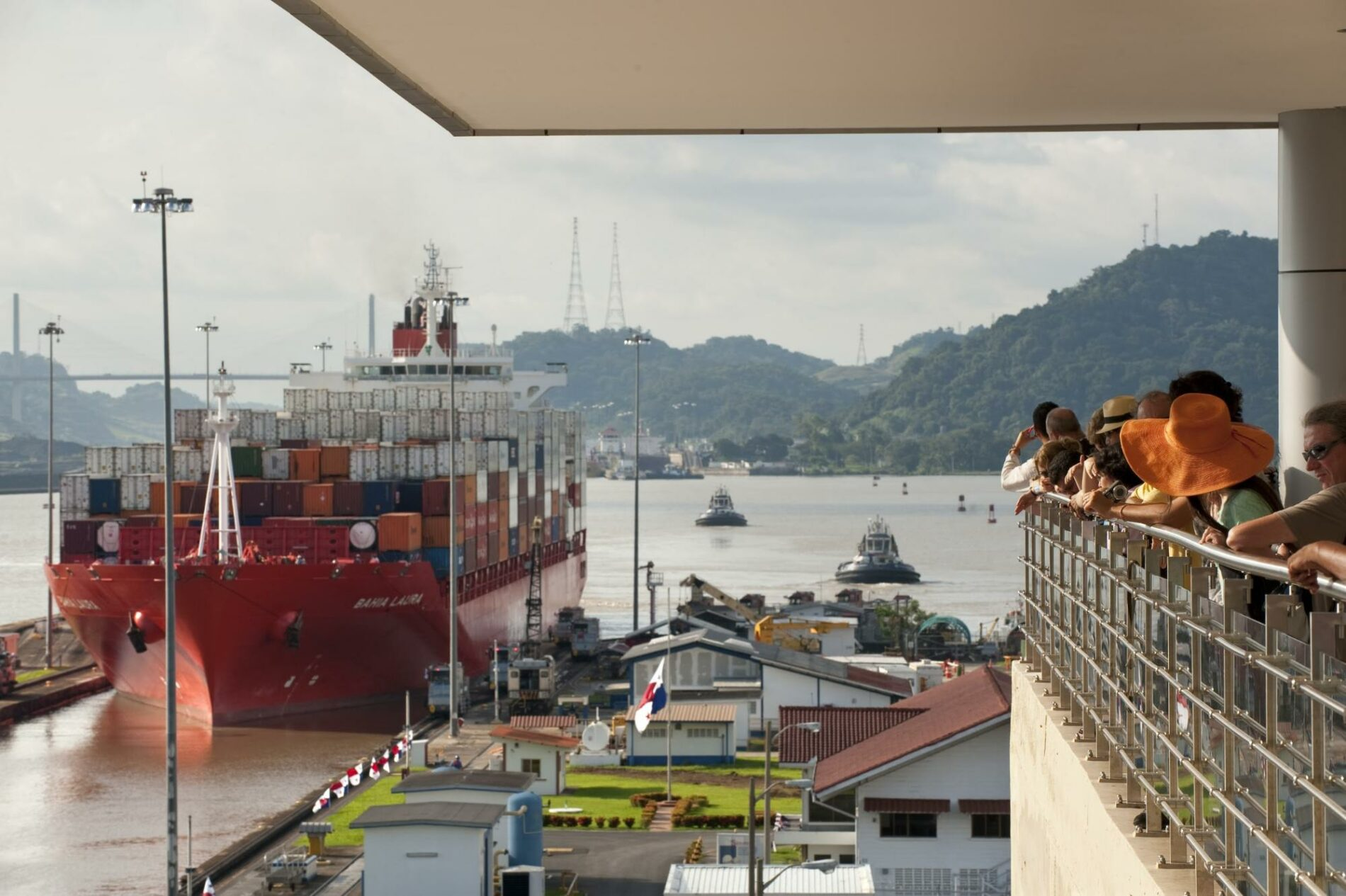 Ship docking in the Miraflores Locks at the Panama Canal
